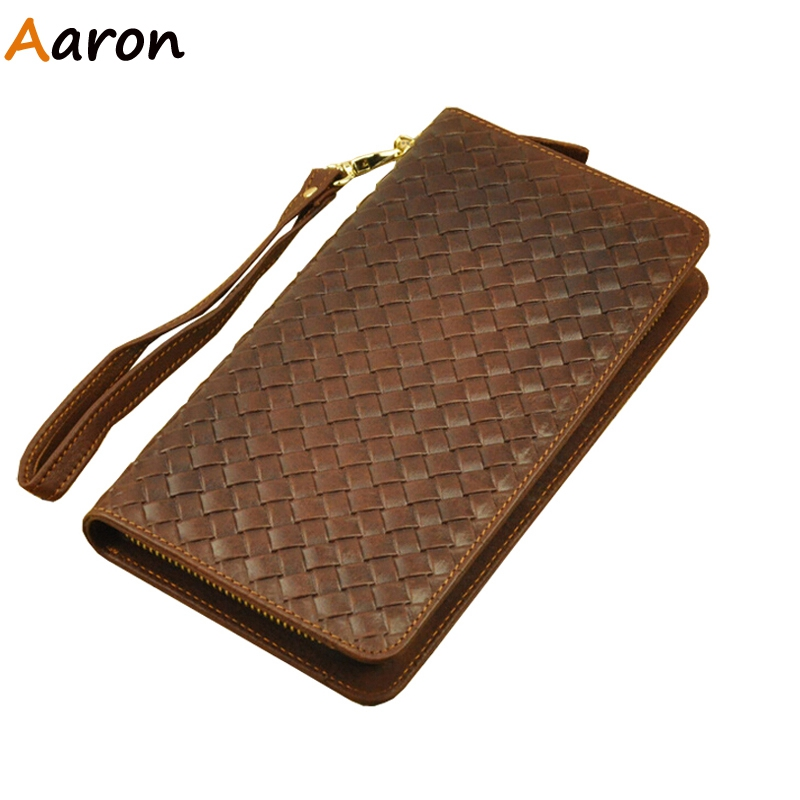 Aaron - Antiqua Luxury Handmade Genuine Leather Mens Organizer Wallet,Retro Knitting Bifold Male Dollar Bags Monedero Free Ship<br><br>Aliexpress