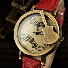 Mujeres moda Vintage violín niñas reloj de cuarzo ocasional relojes de vestir damas Retro de la PU correa de cuero del reloj Horloge