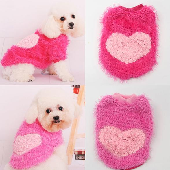 Retail Wholesale Small Dog Pet Corn Pullovers Sweater Rose Heart Style Warm Puppy Clothes Apparel(China (Mainland))