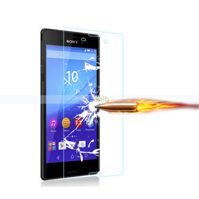 Anti-Scratch 0.3mm Premium Tempered Glass Screen Protector Guard Film + Clean Cloth for Sony Xperia M2 S50h with Strong Box