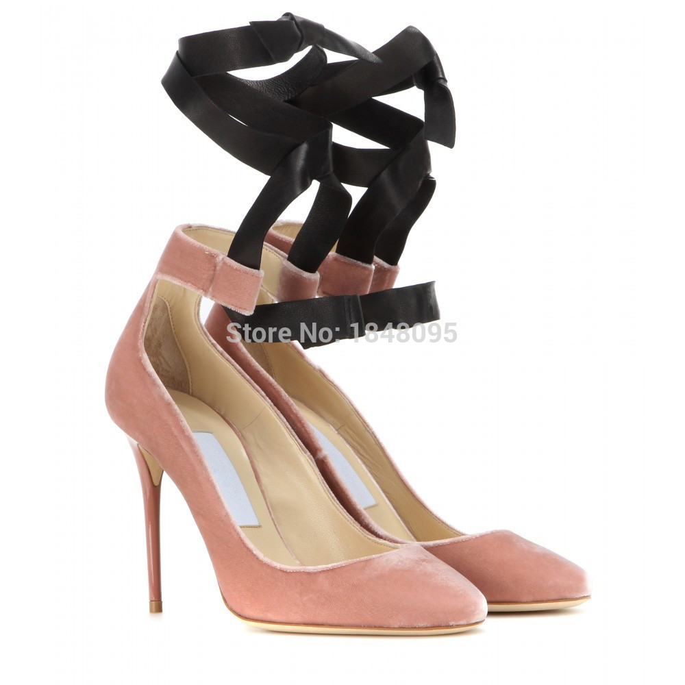 Lace Up Ribbon Heels - Is Heel