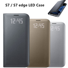 Original LED View Smart Cover Phone Protective Case EF-NG935 for Samsung Galaxy S7 / S7 edge With Sleep Function(China (Mainland))