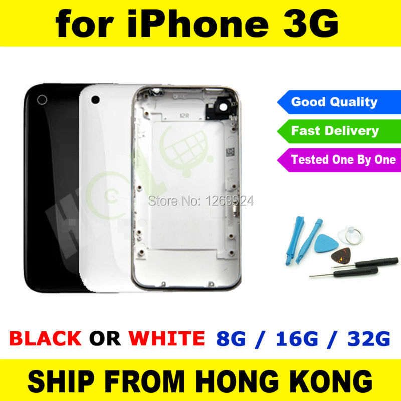 BLACK or WHITE Rear Back Cover Housing with Metal Silver Bezel Frame Chrome Sim Tray for iPhone 3G 8G 16G+ Repair Tool Kit(China (Mainland))