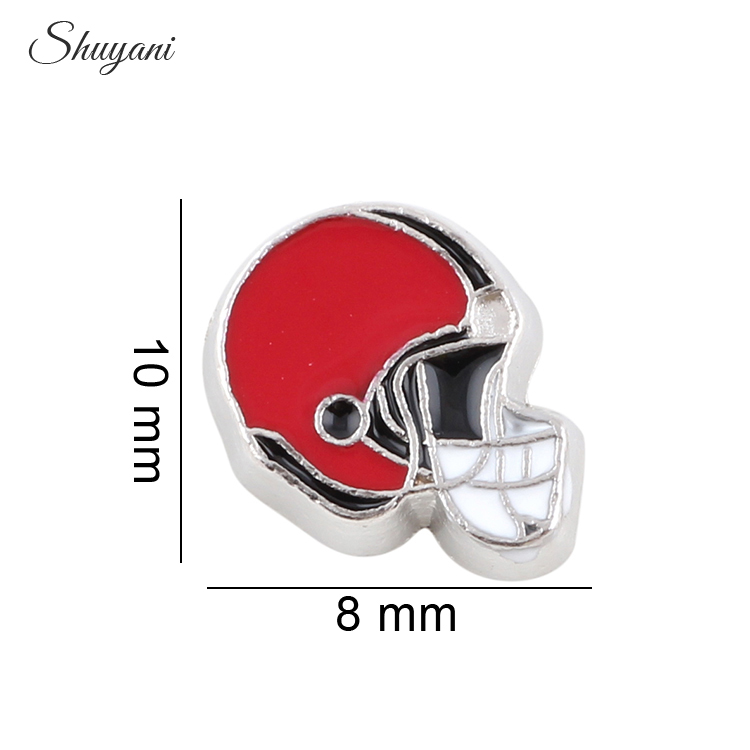 20pcs/lot Wholesale 2016 Floating Locket Charms Enamel Red Football Helmet Charms fit Living Memory Locket(China (Mainland))