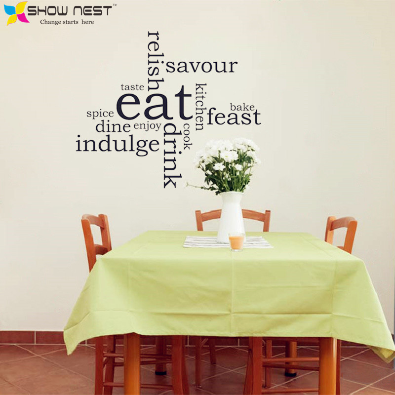 Eat Kitchen Decor Wall Decal : Aliexpress buy kitchen eat word cloud montage wall