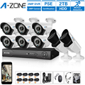 A-ZONE Surveillance CCTV System 4CH 1080P Hybrid DVR With 2TB HDD 720P AHD Camera Smartphone Remote View Outdoor Security Kit