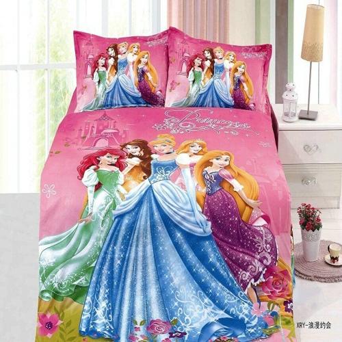 2015 Hot sale 3D princess girls bedding set duvet cover flat sheet pillow case 2/3 pcs kit free shipping(China (Mainland))