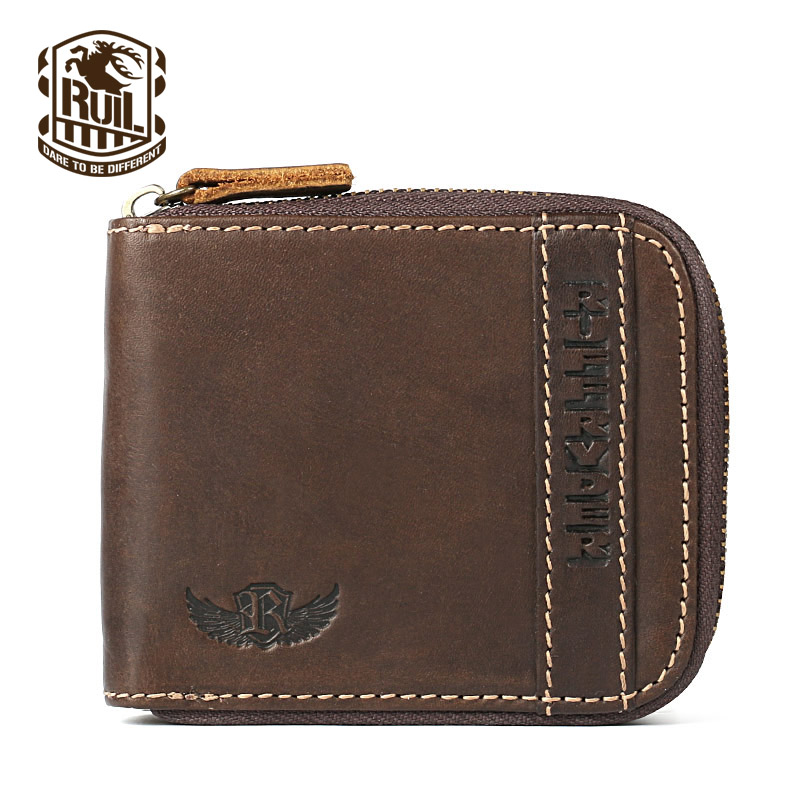 Ruil Top quality Fashion Crazy Horse Genuine Leather Men Purse Wallet coin pocket purse card Wrist Bag Pockets With Zipper(China (Mainland))