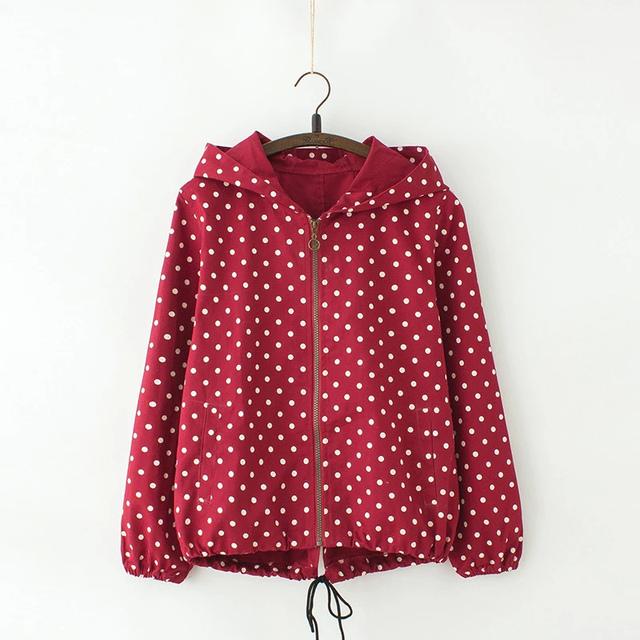 Dr01 мода женщины весна хлопок красная точка печать молнии с длинным рукавом карманный ...