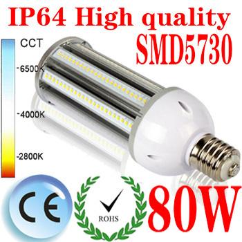 6pcs High quality 80W led street light E40 led corn bulb light E40 outdoor professional lighting with 240pcs SMD5730 AC85-265V(China (Mainland))