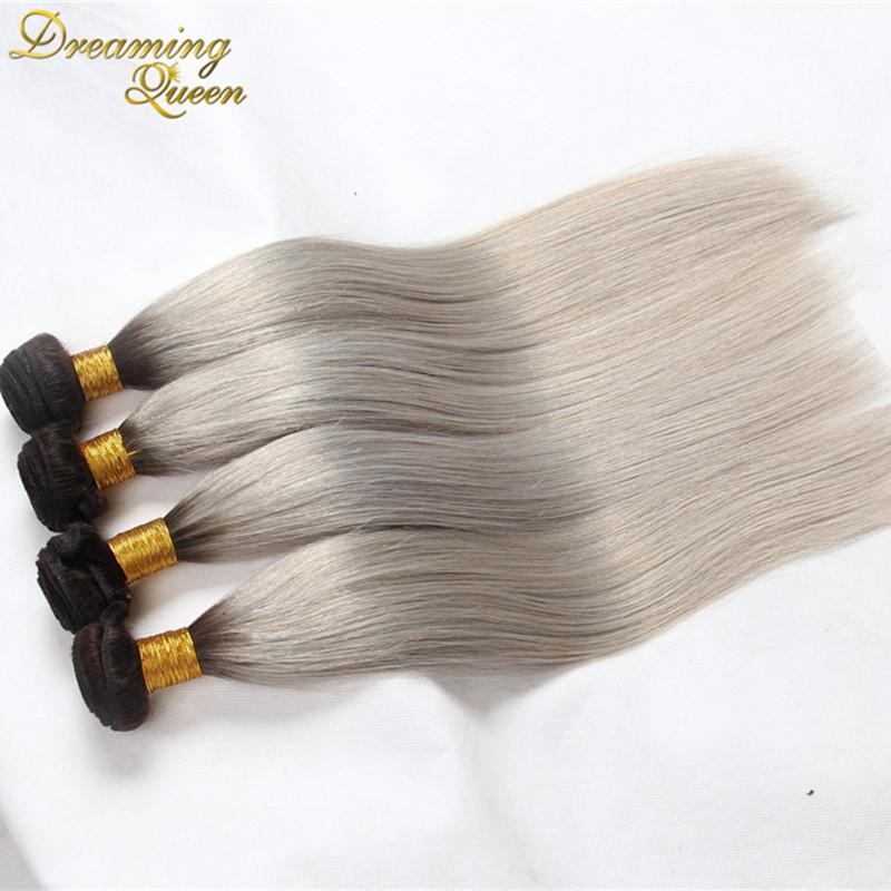Peruvian Straight Virgin Hair 4pcs/lot Ombre Silver Grey Hair Weaving 1b/Gray Two Tone Peruvian Virgin Human Hair Extensions<br><br>Aliexpress
