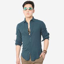 Casual Shirts Men 4XL Designer Brand Slim Fit Man Shirts Long Sleeve White Cotton Linen Shirts For Mens Clothes Free Shipping(China (Mainland))