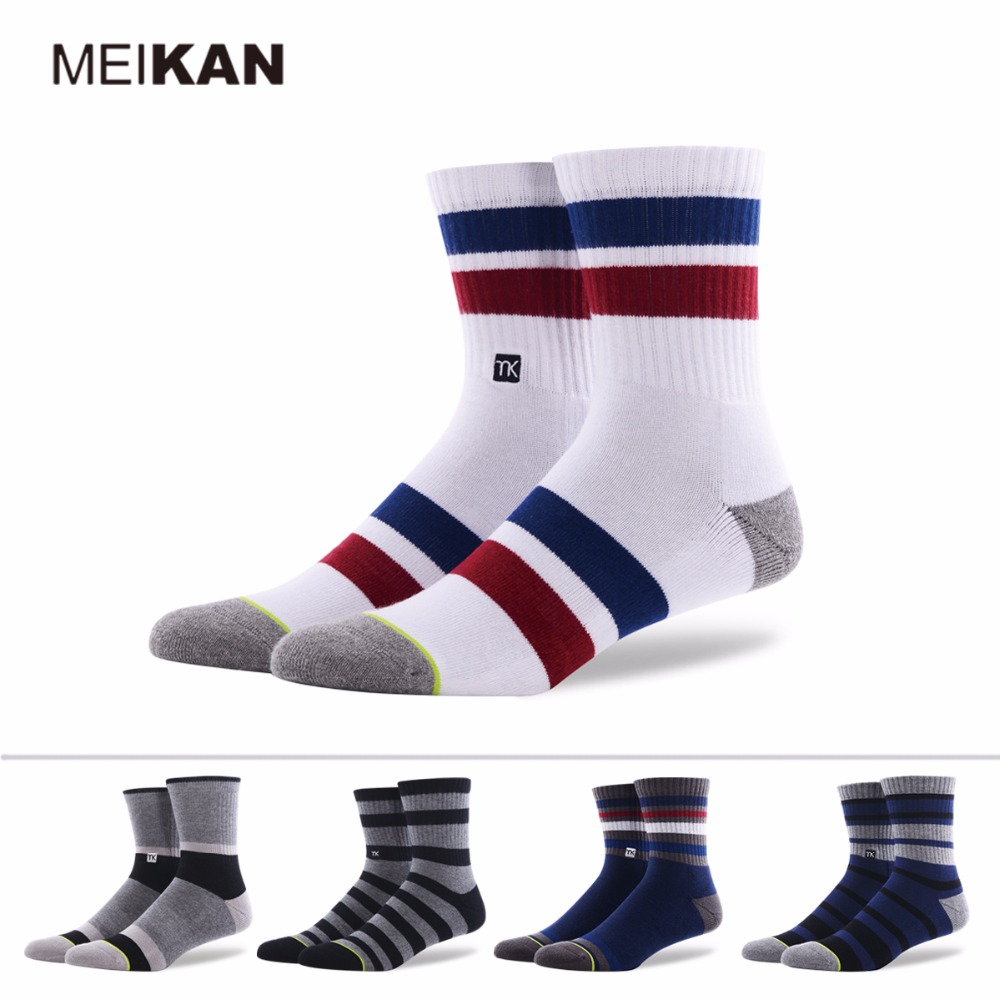 White Towel Socks Mens Daily Leisure Sox MEIKAN Brand Warm Sports Cycling Calcetines Meias Army Chaussettes Terry Dress Socks(China (Mainland))