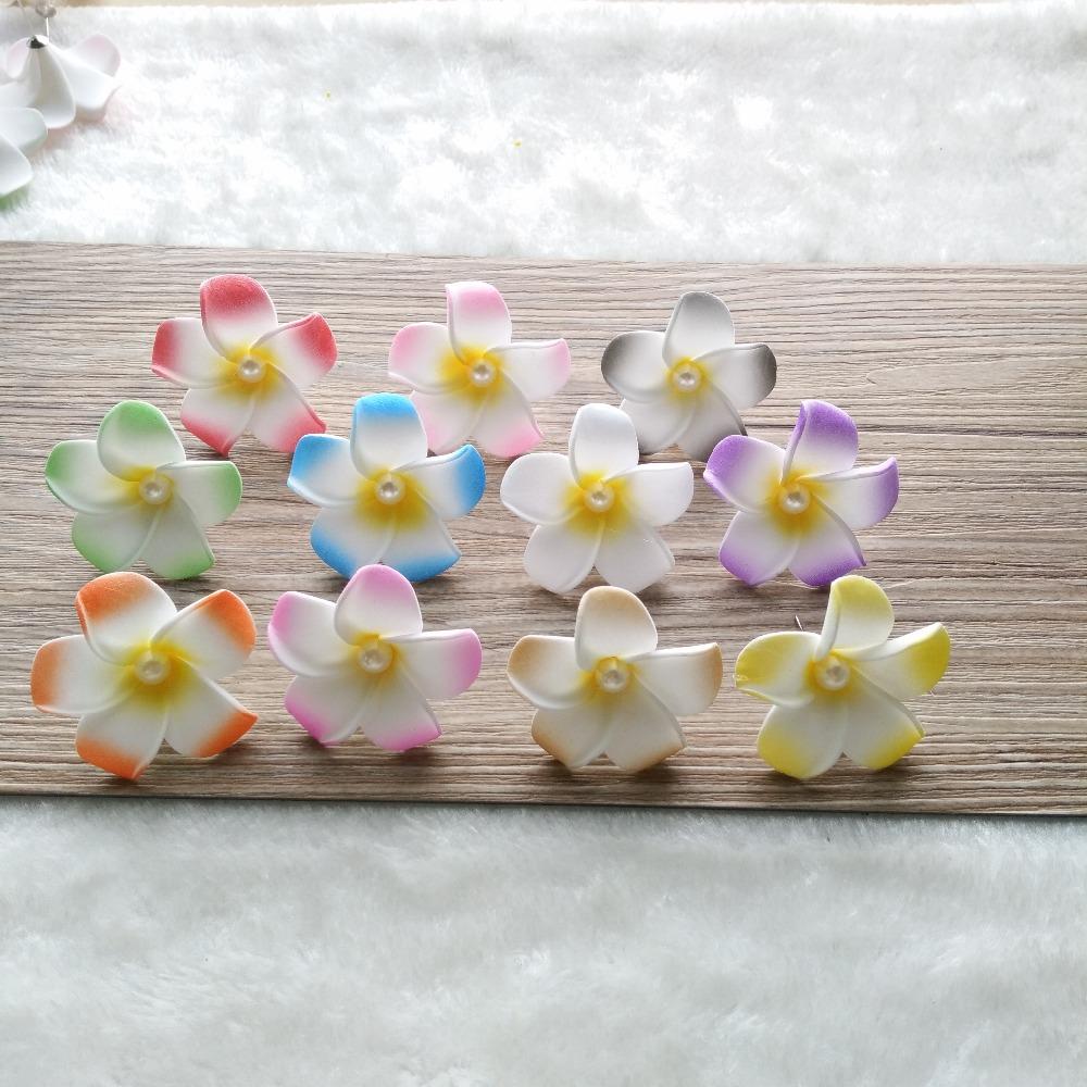 10pair Decorate Wedding Flower Artificial Frangipani PE 4cm ear stud girl women For Party Hawaiian Foam earringes(China (Mainland))