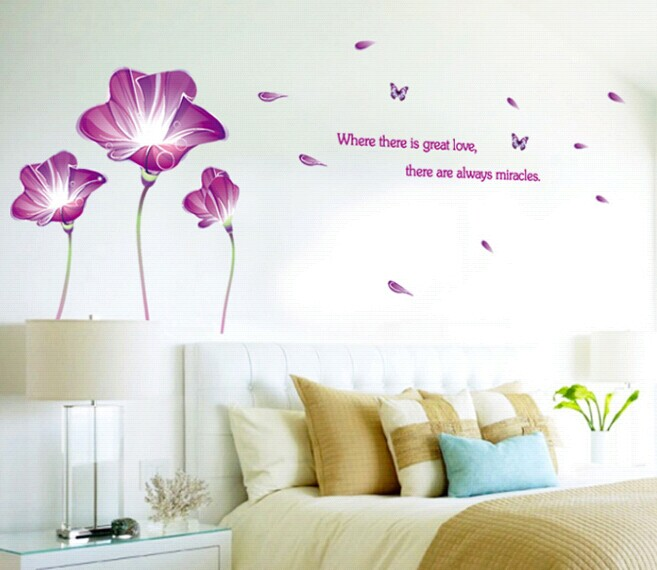 Big size lily flower butterfly wallpaper mural for for Butterfly mural wallpaper