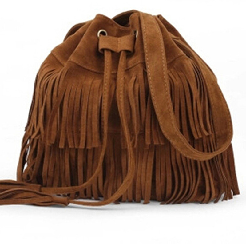 New Retro Faux Suede Fringe Women Bag Messenger Bags New Handbag Tassel Shoulder Handbags Crossbody Gift Free Shipping(China (Mainland))