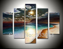Cheap Hand Painted Beach Wall Art Decor Ocean Sunset Landscape Oil Paintings Canvas Modern Abstract 5 Piece Home Decoration Set(China (Mainland))