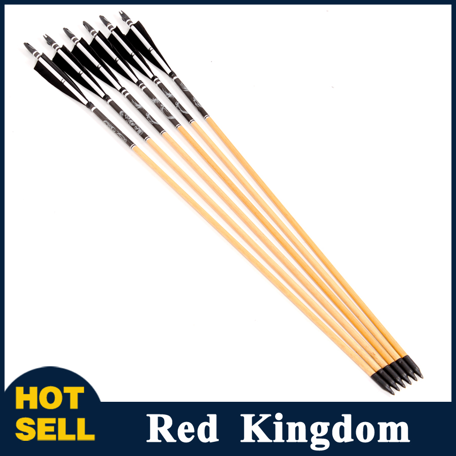 6pcs 78cm Black Pine Striped Feather Golden Arrow Head Archery Decorative Wooden Arrows With Real Feather<br><br>Aliexpress