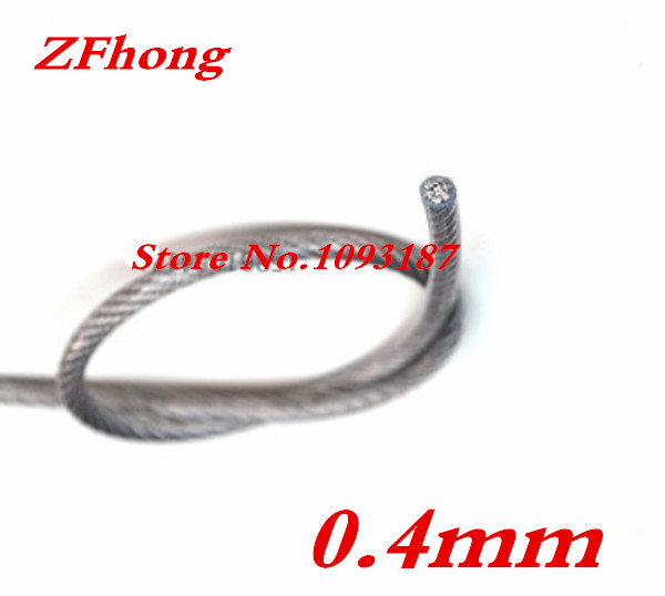 100 meters out diameter 0.4mm plastic covered coated stainless steel A2 SS304 clothesline wire rope(China (Mainland))