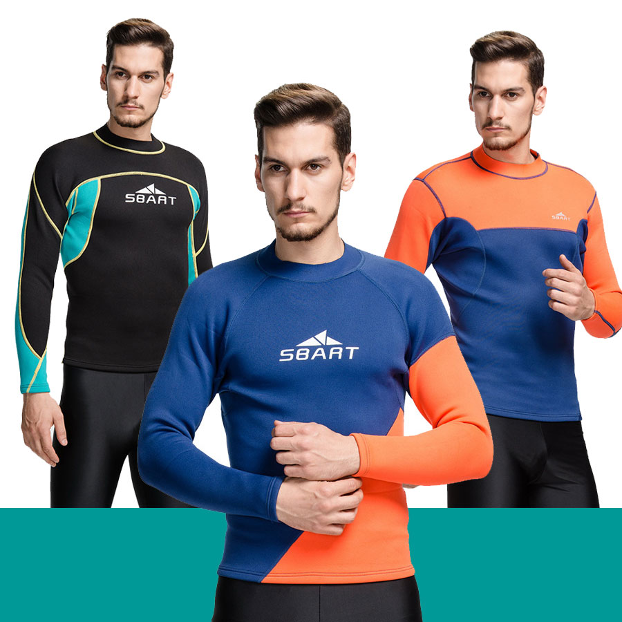 2mm Neoprene Wetsuit Long Sleeve T Shirt 3 Styles for Selection M L XL 2XL 3XL for Men Swimming Surfing Diving Jacket Top(China (Mainland))