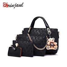 Famous Brand Women Bag Brand 2016 Fashion Women Messenger Bags Handbags PU Leather Female Bag 4 piece Set XP659