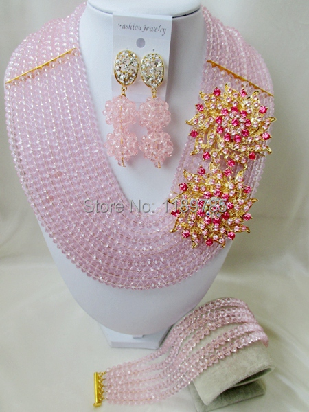 Luxury Bridal women Nigerian Crystal Beads necklace Jewelry sets suit Set Latest Fashion African Wedding Free Shipping C-28<br><br>Aliexpress
