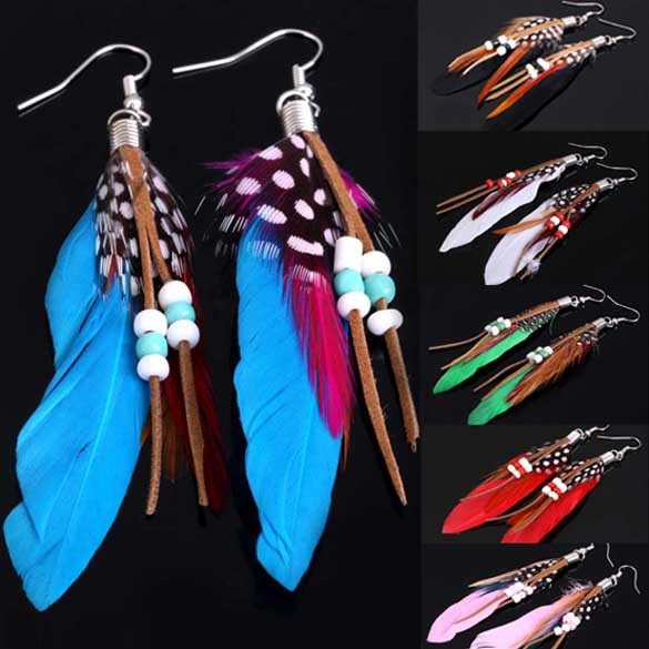 1 Pair of Lost Indians Woman Feather Tassel Earrings Dangle Earrings Ear Hook Pendant Earrings CA1T(China (Mainland))