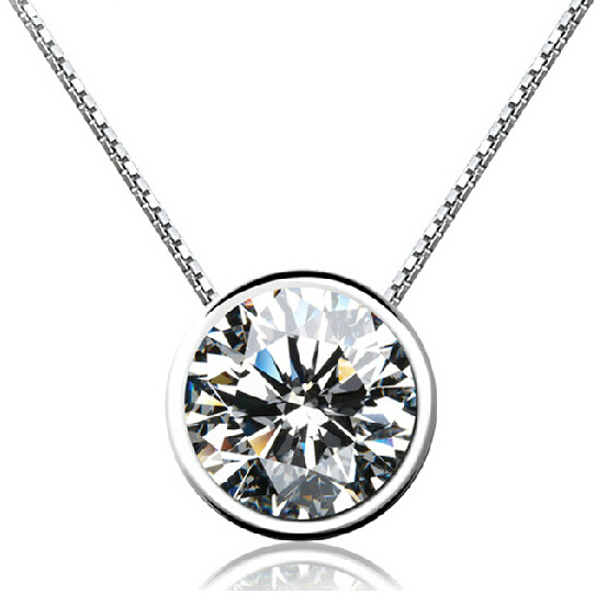 925 Sterling Silver Necklaces & Pendants For Women Round Cubic Zircon Diamond Necklace Sterling-silver-jewelry Collier LD127(China (Mainland))