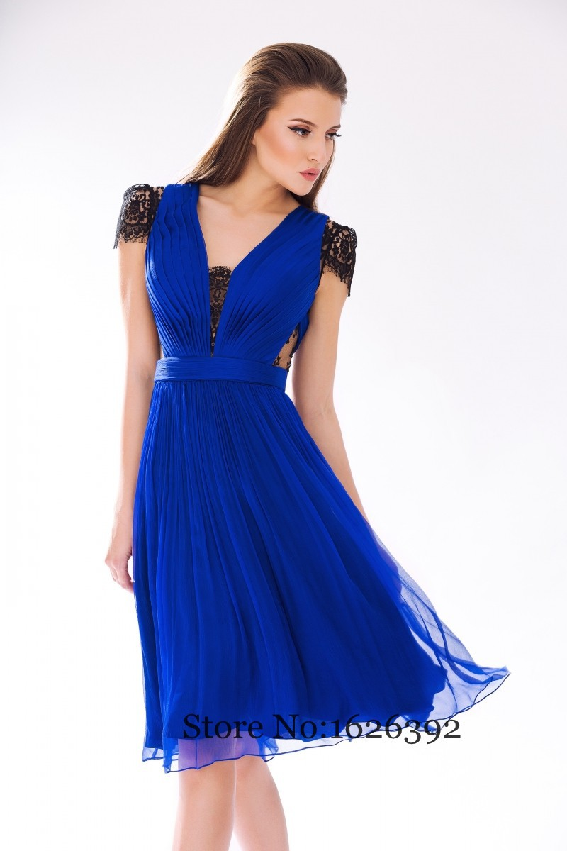 Cheap royal blue summer chiffon dresses short with sleeves for Blue summer dress for wedding