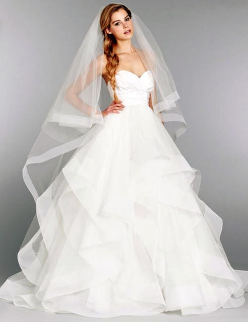 Бесплатная доставка свадебные лонг один слой вуаль цвета слоновой кости / белый элегантный ...