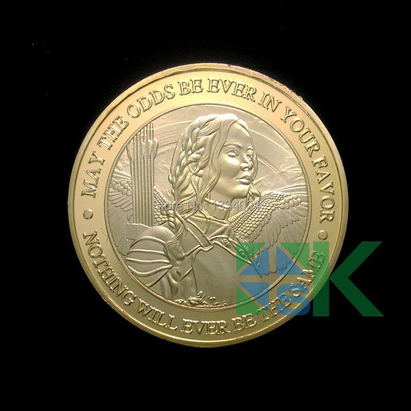 1pcs New Arrival 40*3mm HOT SALE The Hunger Games prime challenge coin gold plated coins(China (Mainland))