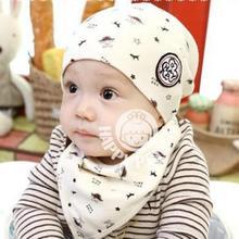 2016 Newborn Baby Girl Boy Kids Bandana Bibs+Hat Saliva Towel Triangle Head Scarf