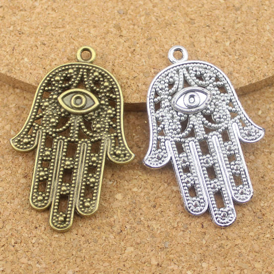 Free shipping 20pcs/bag wholesale alloy antique silver plated hamsa hand pendant 28*42mm<br><br>Aliexpress