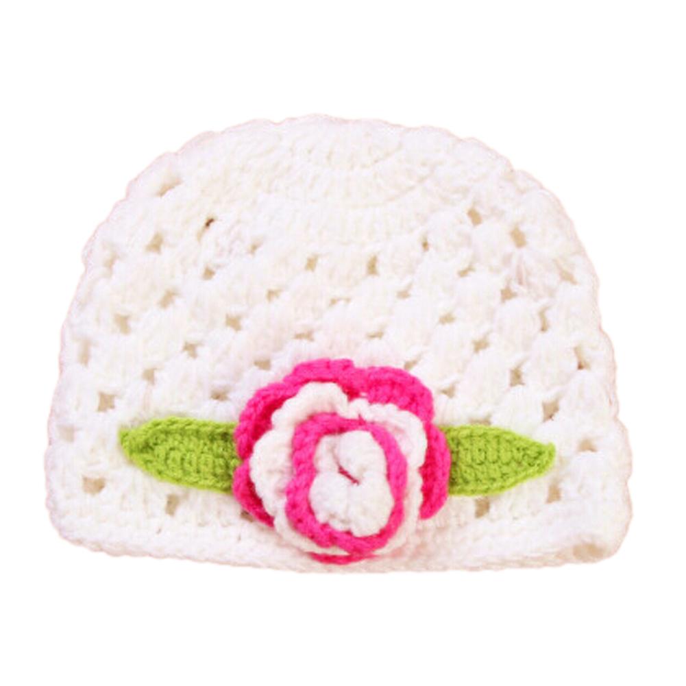 NEW Baby Flower Crochet Beanie Handmade Hat Winter Knit Cap (White)<br><br>Aliexpress