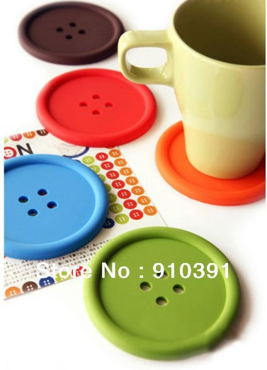 Free ship/EMS,candy color button Heat-proof cup coaster non-slip coffee cup pad,anti slip cup mat as homeware table accessory.