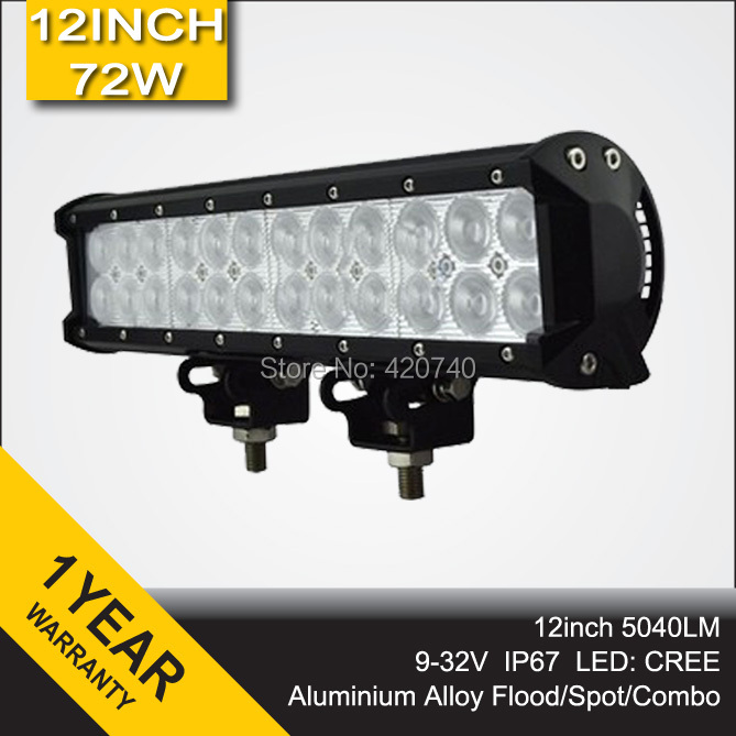 12inch 72W Cree LED Light Bar Spot Flood Combo Beam Offroad Light 12V 24V LED Work Lamp For ATV SUV 4WD 4X4 Boating Hunting(China (Mainland))