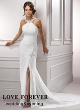 White Chiffon New Arrival 2015 Front Side Slit Halter Backless Beach Cheap Wedding Dress Gown(China (Mainland))