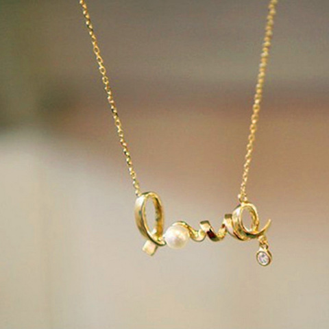 Korean Fashion Jewelry LOVE Letter Necklace Silver Romantic Lovers Pendant Necklaces Zinc Alloy Figaro Chain Pearl Necklace(China (Mainland))