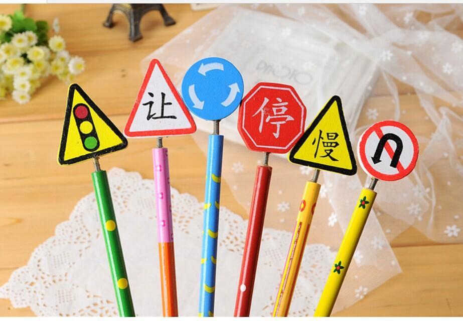 Min. order is $15 (mix order) C235 Hot Sale Stationery Cute Cartoon traffic sign Wood Pencil(China (Mainland))