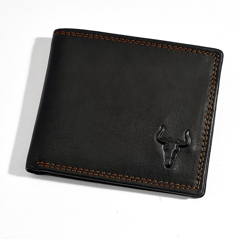 New Arrival Men's Bulls Mark 100% Genuine Leather wallet head cowhide purse big capacity trifold multi-function card holder(China (Mainland))