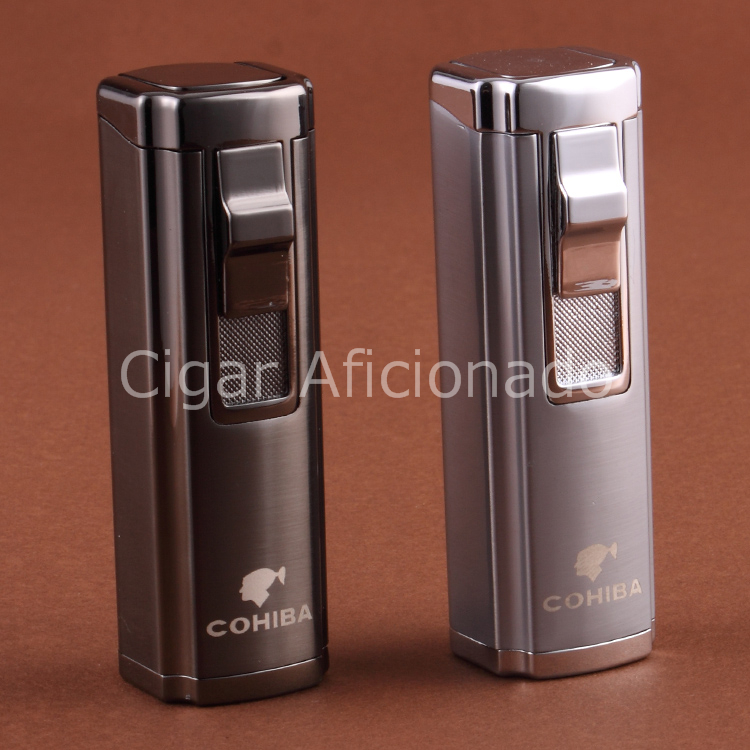 COHIBA Hiigh Quality Turbo Lighter Windproof Butane Gas Windproof Triple Torch Jet Flame Cigarette Cigar Lighter W Cigar Punch(China (Mainland))
