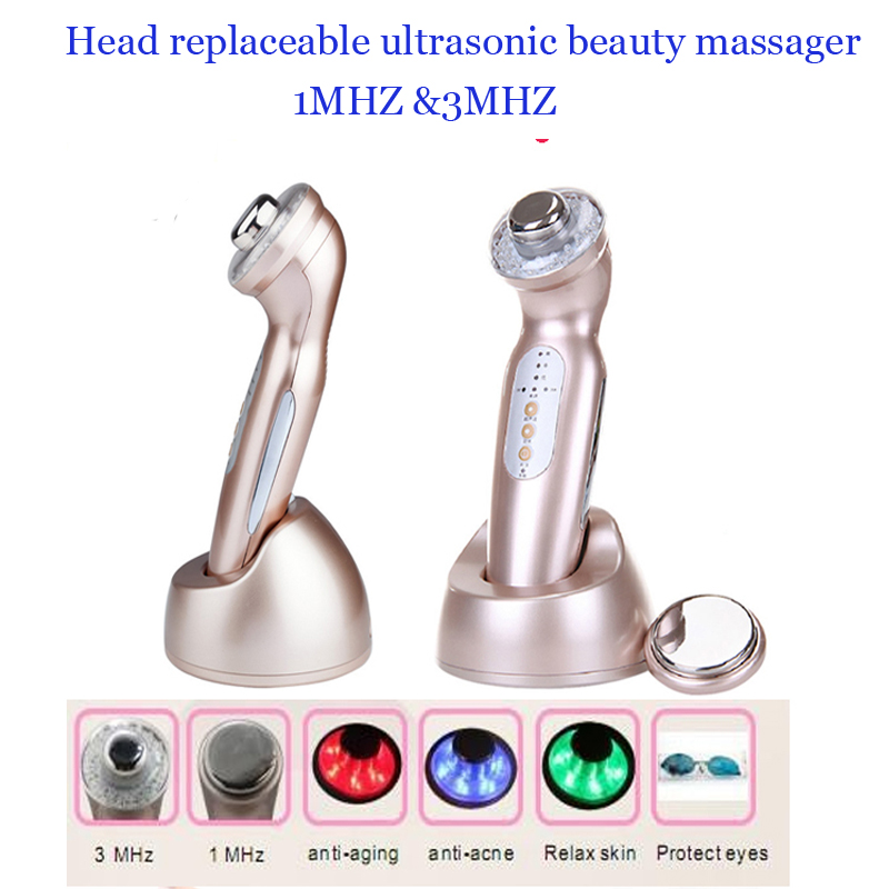 Head Changeable Galvanic Face And Body Spa Ultrasonic Photon Ionic Facial Beauty Massager For Rejuvenation<br><br>Aliexpress