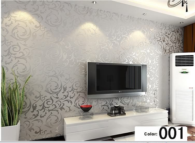 Acquista all 39 ingrosso online argento carta da parati a for Silver wallpaper living room