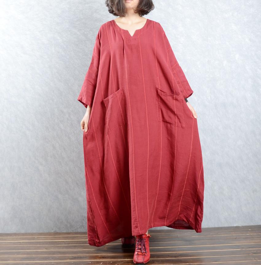 2016 women dress  new cotton linen striped robes pockets long sleeve dress plus size cotton dressОдежда и ак�е��уары<br><br><br>Aliexpress