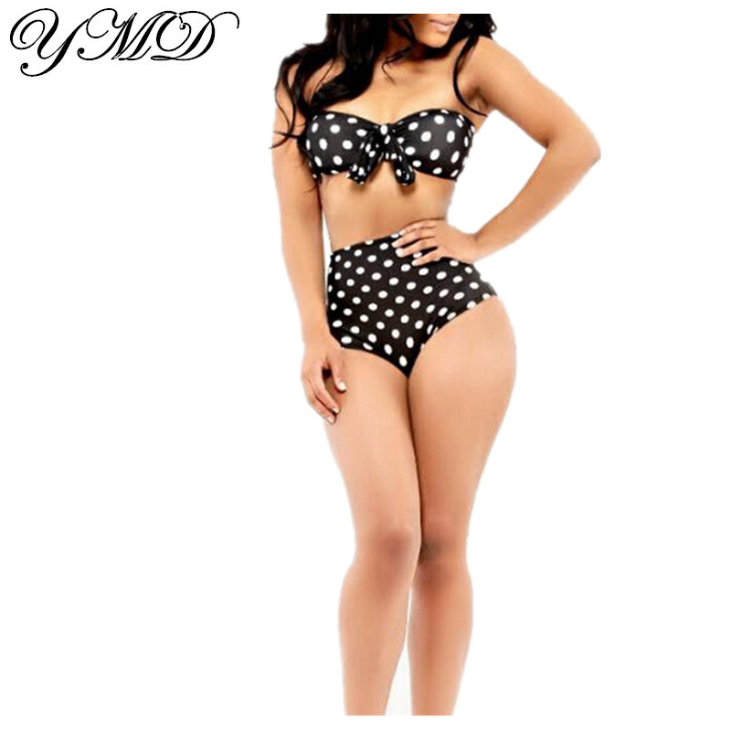 Sport and retro two piece swimsuit featuring a scoop neck swim top with racer back, elastic band, suspender shoulder straps, gingham print, padded cups, matching with a high waist checked bikini bottom in brief-cut trim.