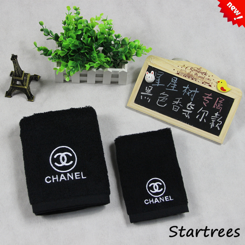 Cotton black beauty salon towel Increase the thick suction brand logo C face towel(China (Mainland))