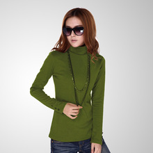 Woman spring plus size Solid Turtleneck Full button thicken sweaters lady winter strech hedging warm cotton slim Sweater D05(China (Mainland))
