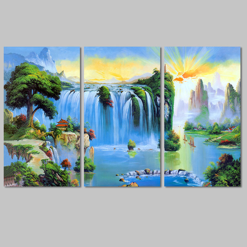 3pcs China fairyland landscape lake Sunrise decoration waterfall wall art picture mountains Canvas Painting living room unframed(China (Mainland))