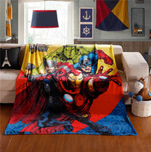 New Hot Avengers Fleece Travel Blanket/150*200CM Baby Boy Cartoon Hulk Sleep Quilt/Superhero Household Soft Marvel Blanket(China (Mainland))