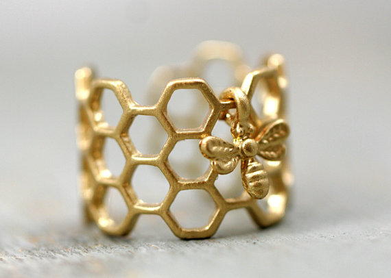 2016 new products sell like hot cakes of cellular ring and little bee, adjustable hexagon ring, lovely bee ring, rings for women(China (Mainland))